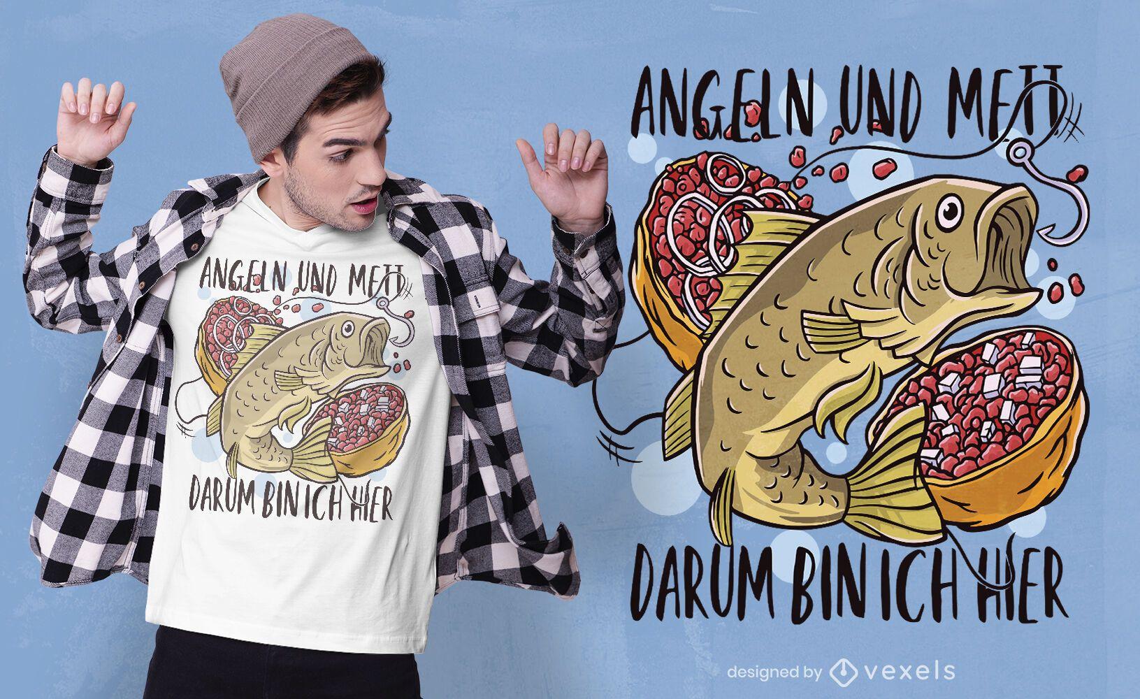 Diseño de camiseta de pesca y mett.