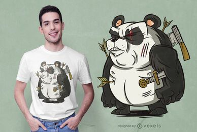 Design de camiseta do guerreiro panda