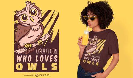 Diseño de camiseta amante del búho