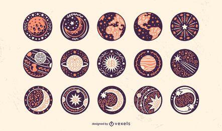 Conjunto de emblemas de elementos de espaço