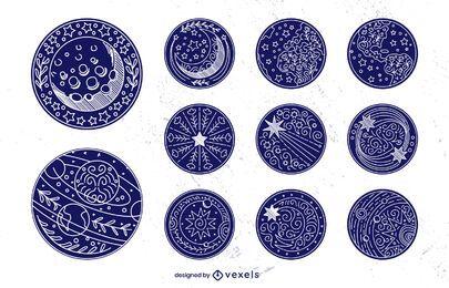 Conjunto de emblemas de traços de elementos espaciais