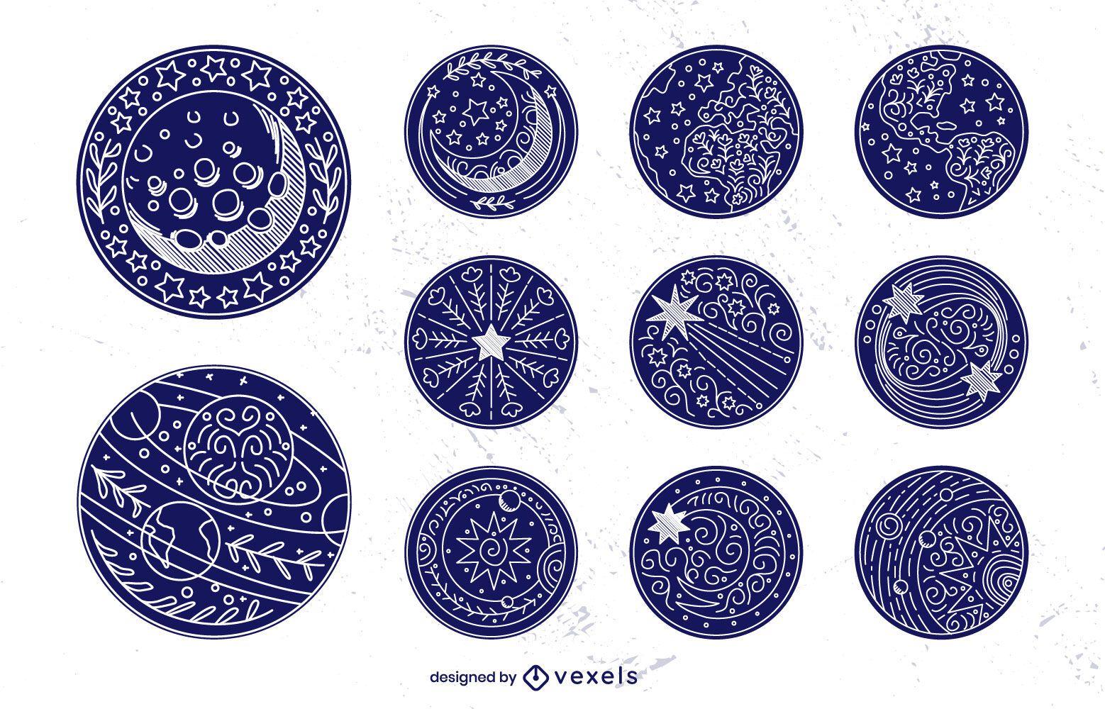 Space elements stroke badge set