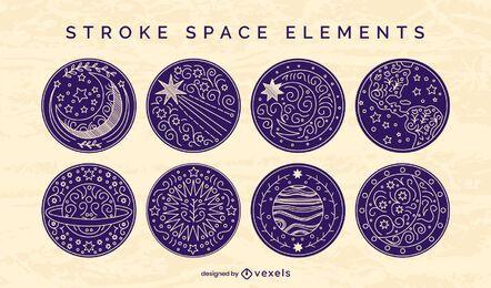 Conjunto de traços de distintivo de elementos espaciais