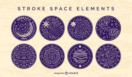 Space elements badge stroke set