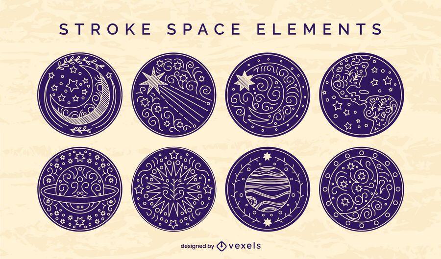 Conjunto de trazos de insignia de elementos espaciales
