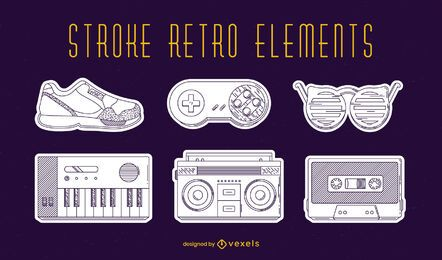 Retro elements set stroke