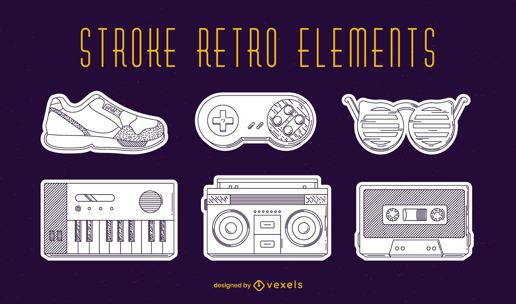 Conjunto de elementos retro trazo