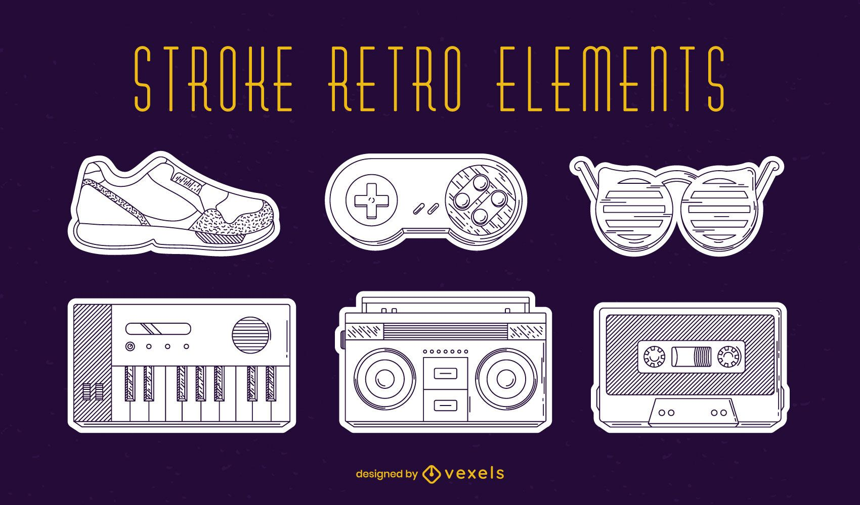 Retro elements set stroke
