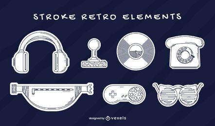 Conjunto de elementos retro traço