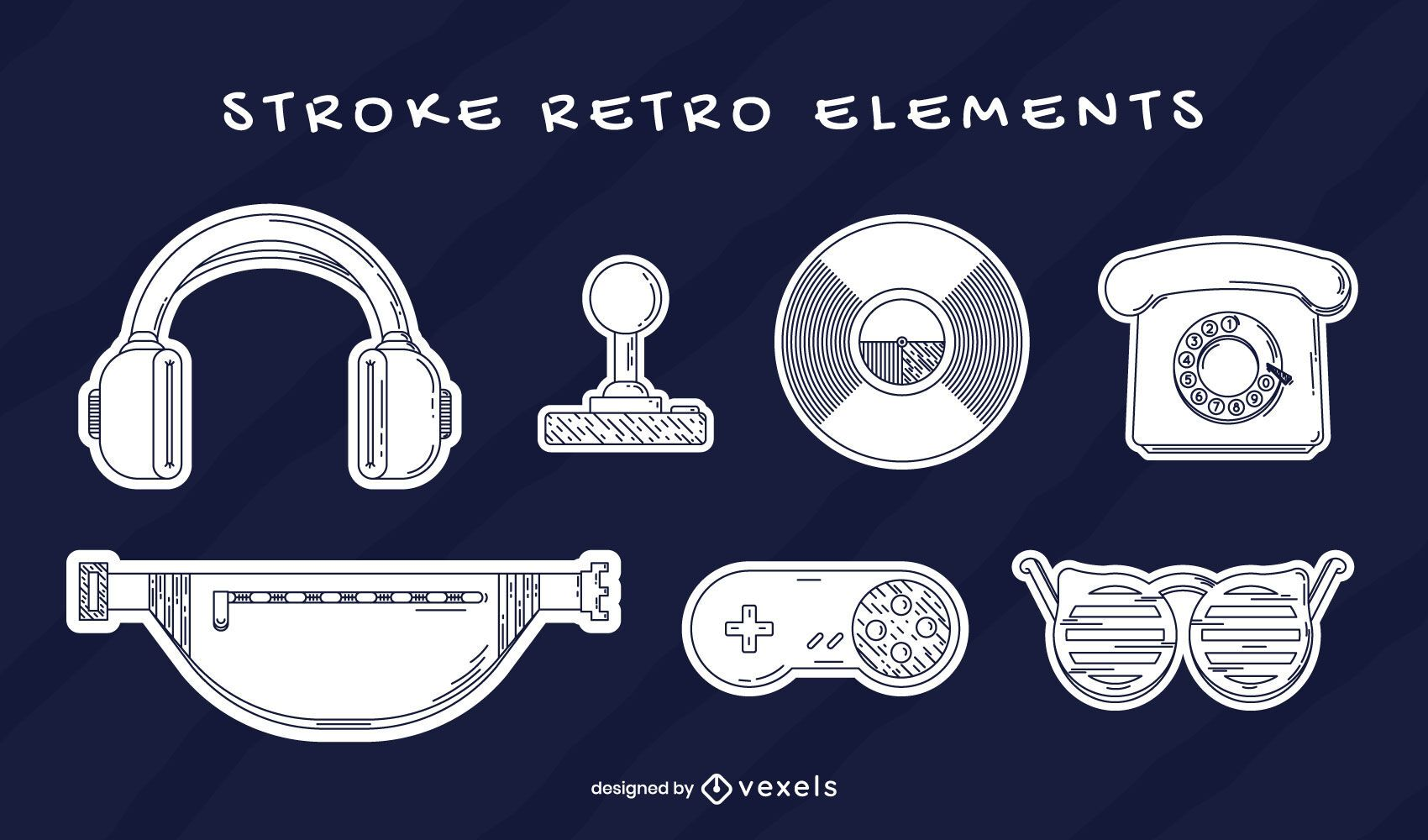 Elements set retro stroke