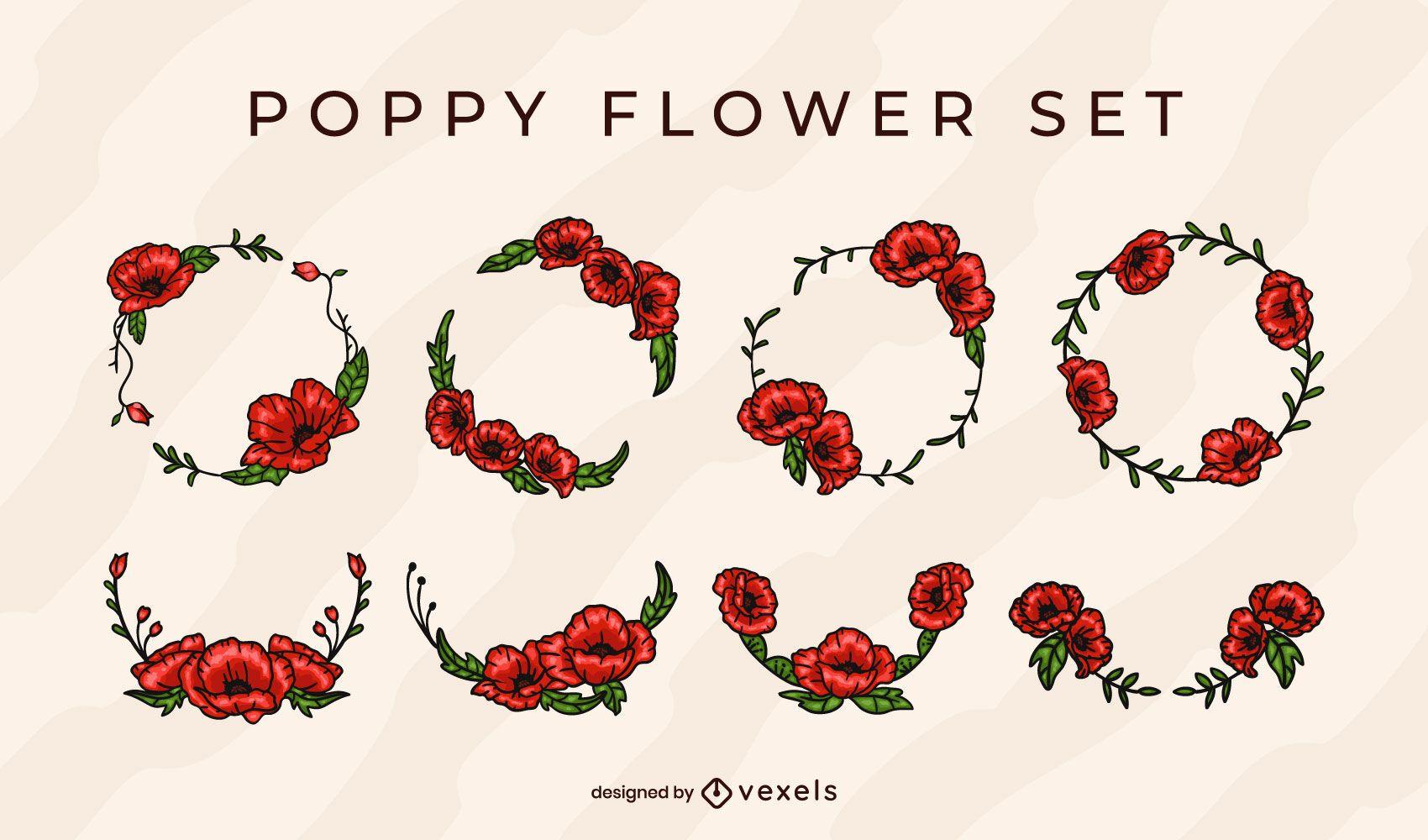 Conjunto de corona de flores de amapola