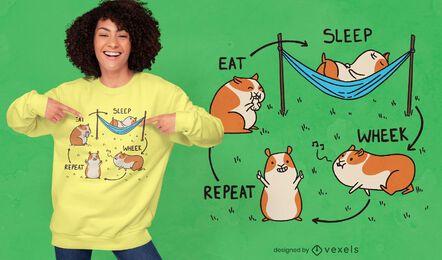 Diseño de camiseta de ciclo de conejillo de indias.