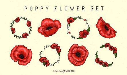 Poppy flower elements set