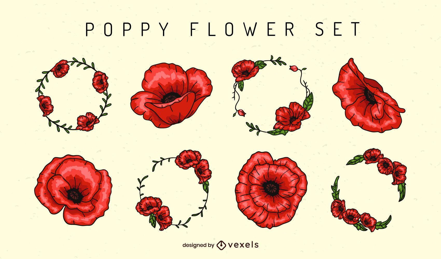 Poppy flower elements set