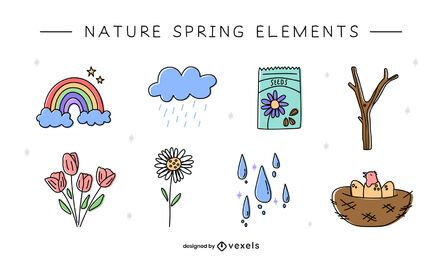 Nature doodle elements