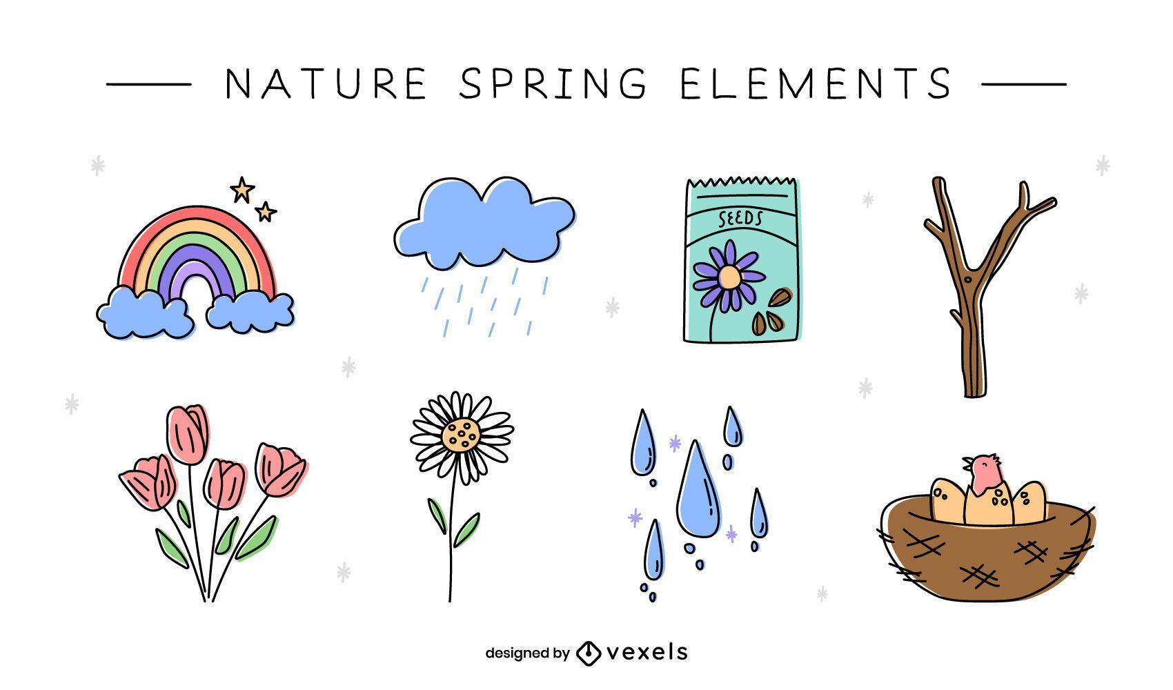 Elementos de la naturaleza doodle