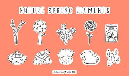 Elementos do traço da natureza da primavera