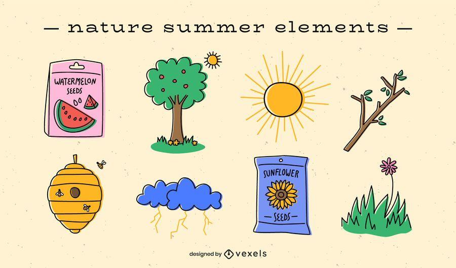 Paquete plano de elementos de verano