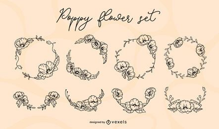Conjunto de pincelada de flor de papoula