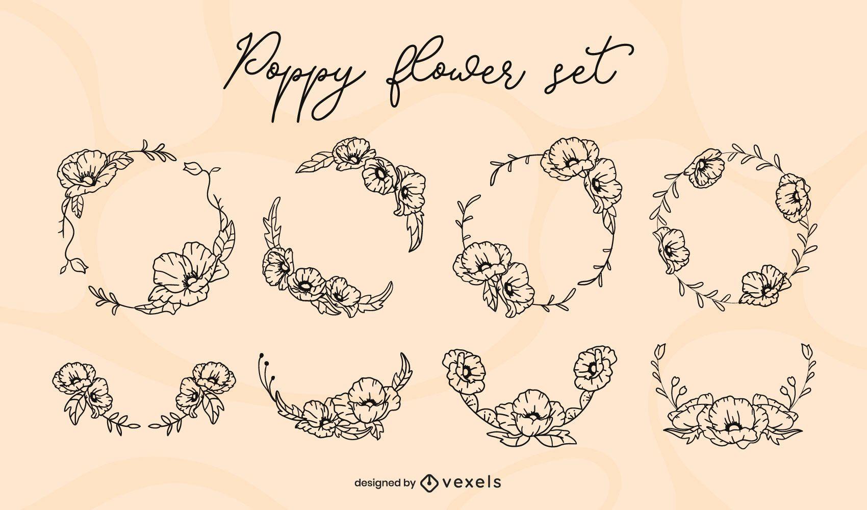 Poppy flower stroke set