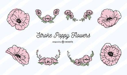 Conjunto de trazos de color de flor de amapola