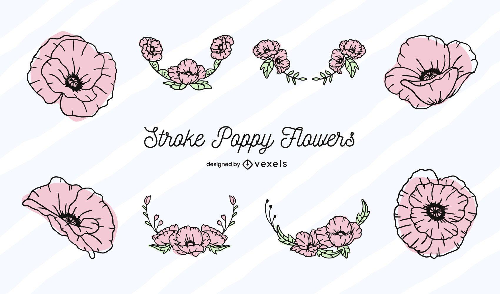 Poppy flower color-stroke set