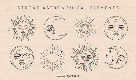 Conjunto de trazos de elementos astronómicos