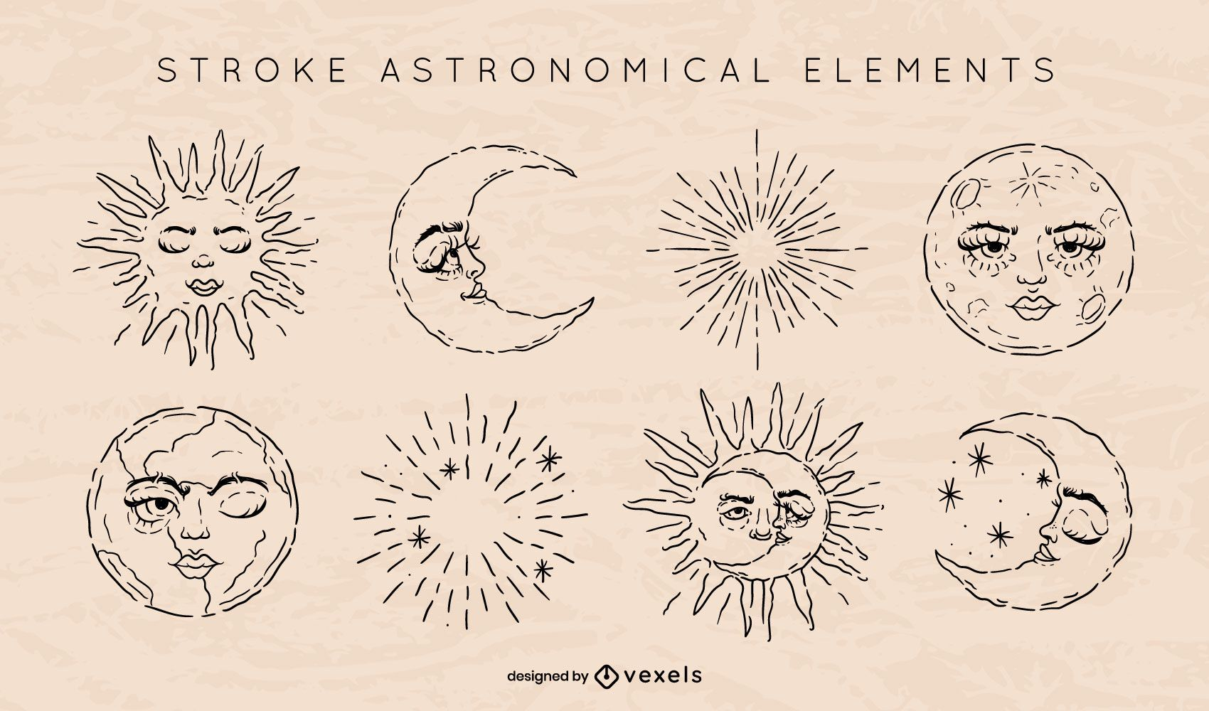 Astronomical element stroke set