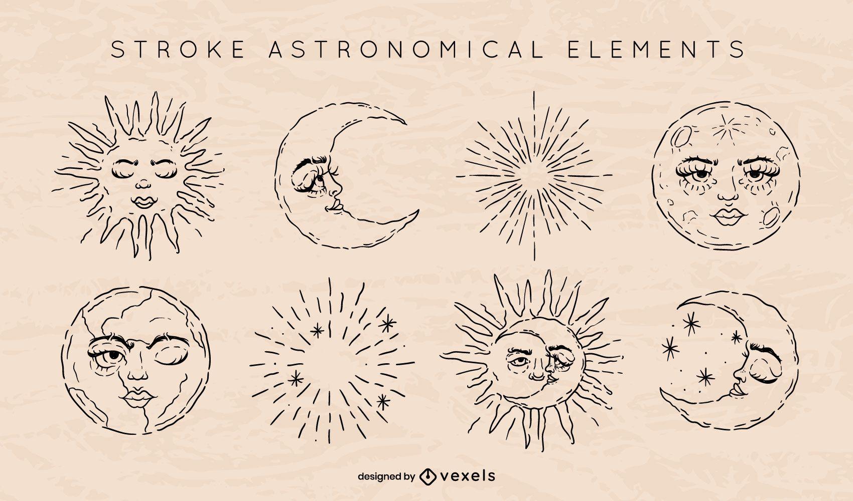 Conjunto de trazos de elementos astron?micos