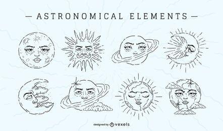 Astronomical elements stroke set