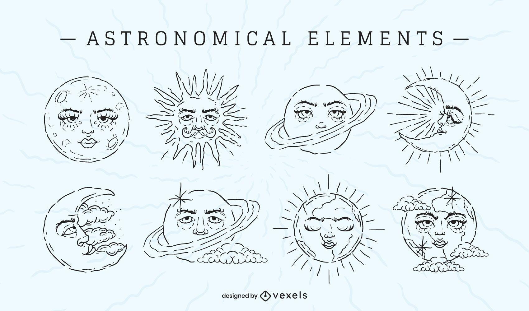 Conjunto de trazos de elementos astronómicos.