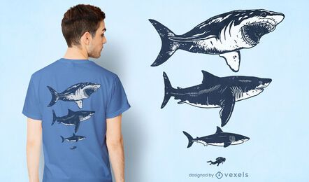 Sharks and diver t-shirt design