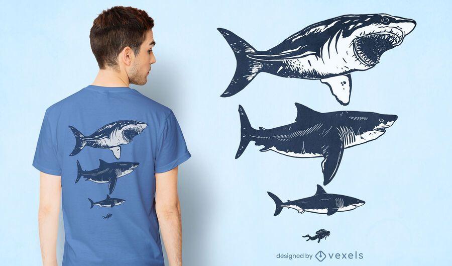 Diseño de camiseta de tiburones y buceadores.