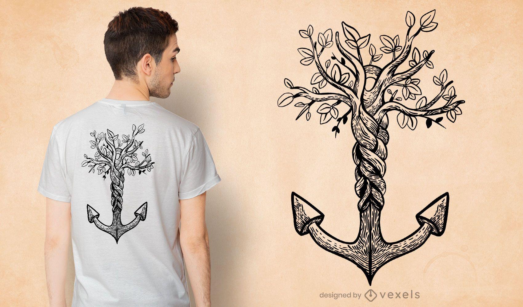 Diseño de camiseta de árbol de ancla