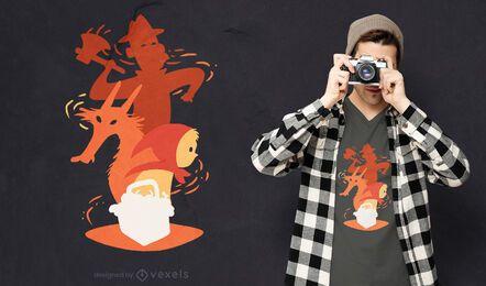 Diseño de camiseta de personajes de Caperucita Roja.