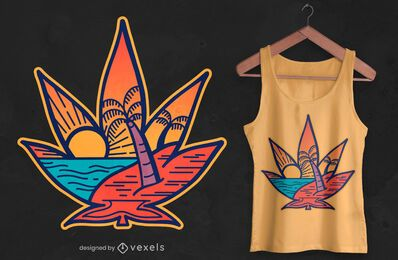 Cannabis leaf beach t-shirt design