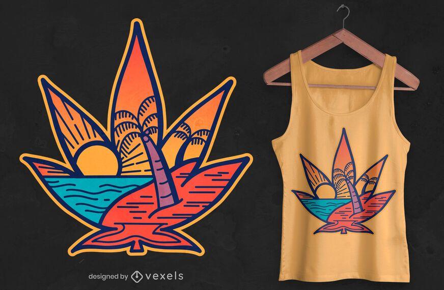 Design de t-shirt de praia em folha de cannabis