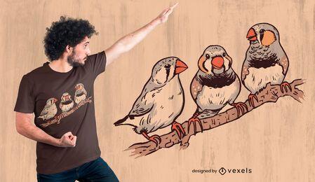 Diseño de camiseta de pájaros pinzones cebra