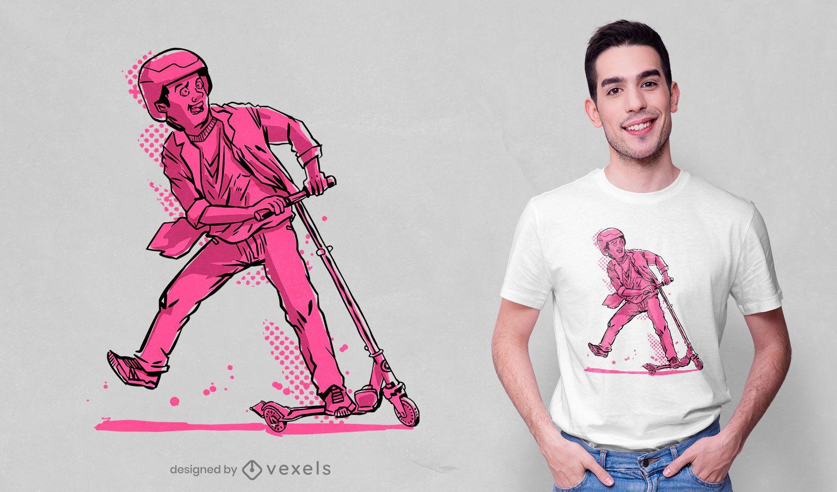 Diseño de camiseta scooter kid
