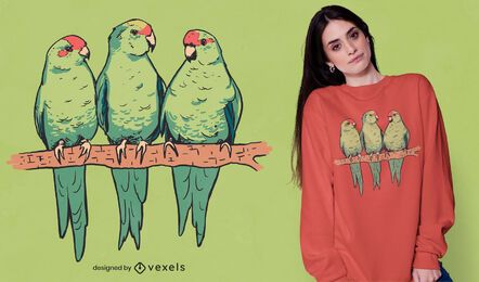 Red-crowned parakeets t-shirt design