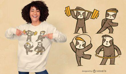 Diseño de camiseta fitness sloths.