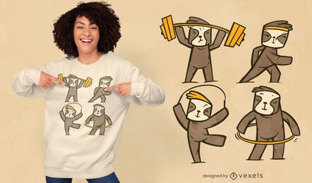 Fitness sloths t-shirt design