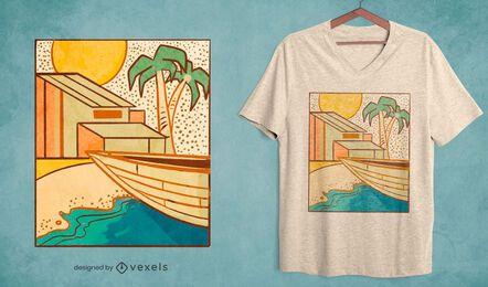 Diseño de camiseta de canoa de casa de playa.