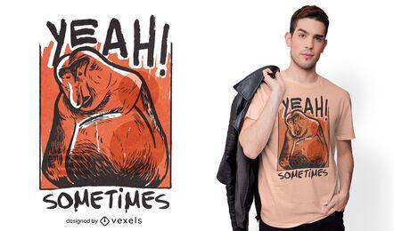 Design de camiseta de macaco de nariz comprido