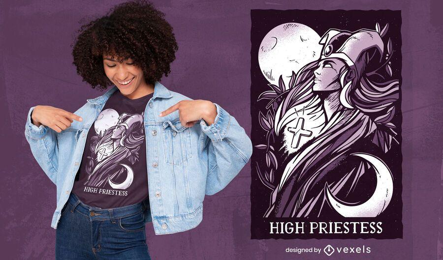 Tarot-T-Shirt-Design der Hohepriesterin