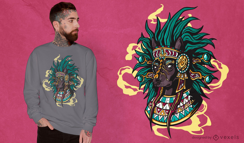 Diseño de camiseta de perro azteca.