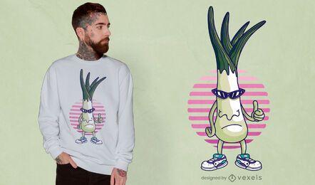 Design engraçado de t-shirt de desenho animado de alho-poró