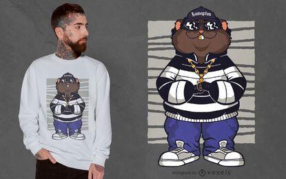 Design de t-shirt de hamster gangster