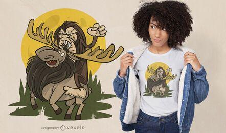 Diseño de camiseta de big foot riding alce.