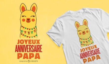 Diseño de camiseta francesa de cumpleaños de alpaca.